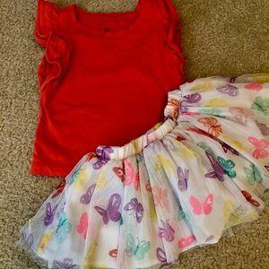 🦄 18-24 month baby gap shirt & toughskins skirt